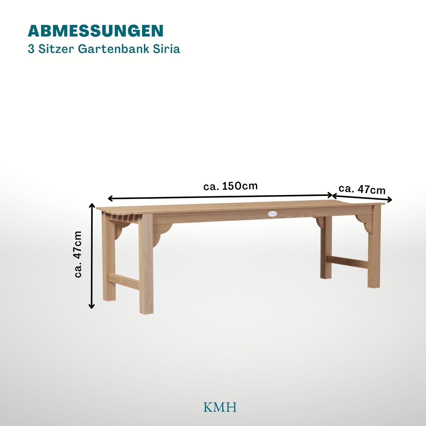 kmh 3er teak gartenbank sitzbank gartenm bel holzbank teakbank parkbank bank 4250684309340 ebay. Black Bedroom Furniture Sets. Home Design Ideas