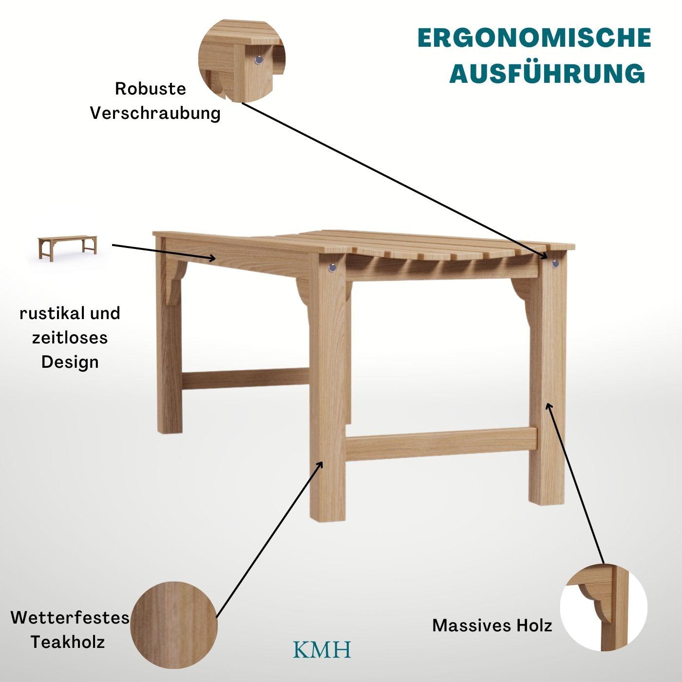 kmh 2er teak gartenbank sitzbank gartenm bel holzbank teakbank parkbank bank 4250684314610 ebay. Black Bedroom Furniture Sets. Home Design Ideas