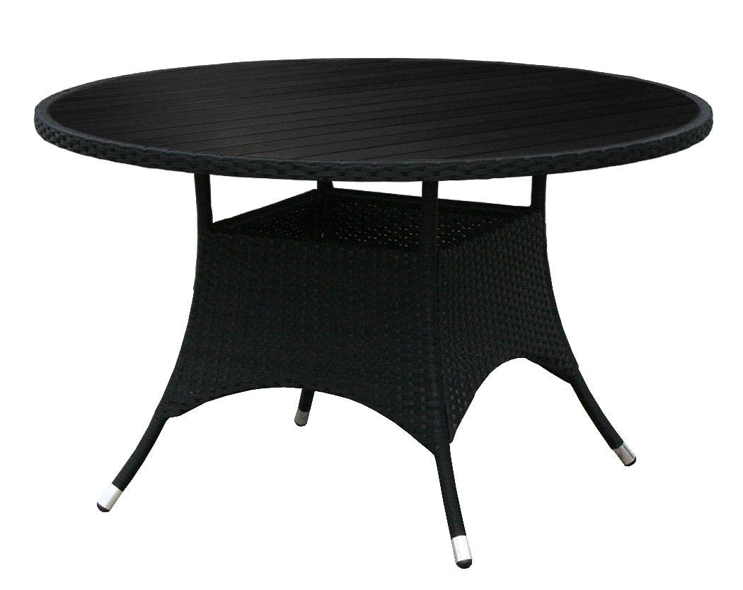 kmh polyrattan gartentisch tisch rund 120 cm holzimitat rattantisch schwarz 4250684300934 ebay. Black Bedroom Furniture Sets. Home Design Ideas