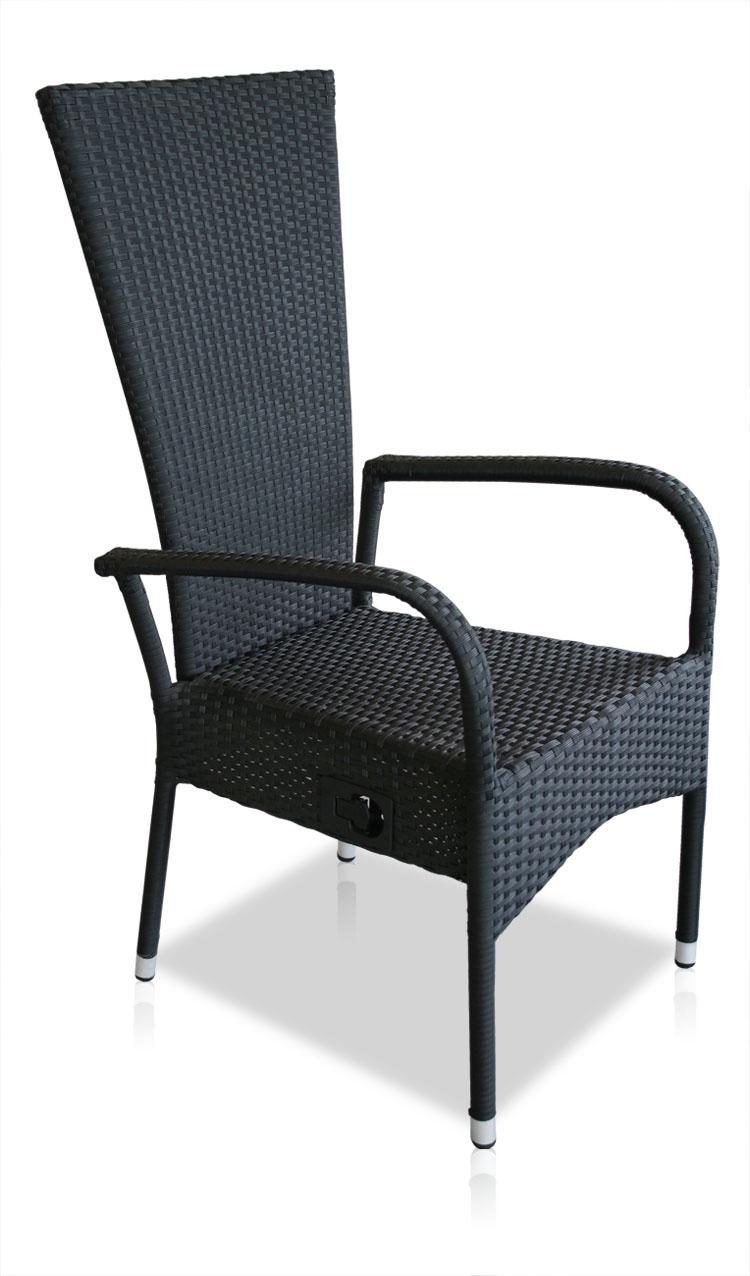 Kmh polyrattan hochlehner schwarz stapelbar stapelstuhl for Sessel reinigen