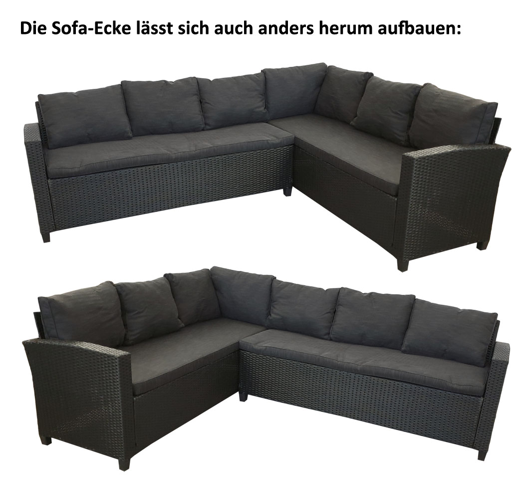 KMH® Polyrattan Sitzgruppe schwarz Lounge Essgruppe Rattanmöbel ...