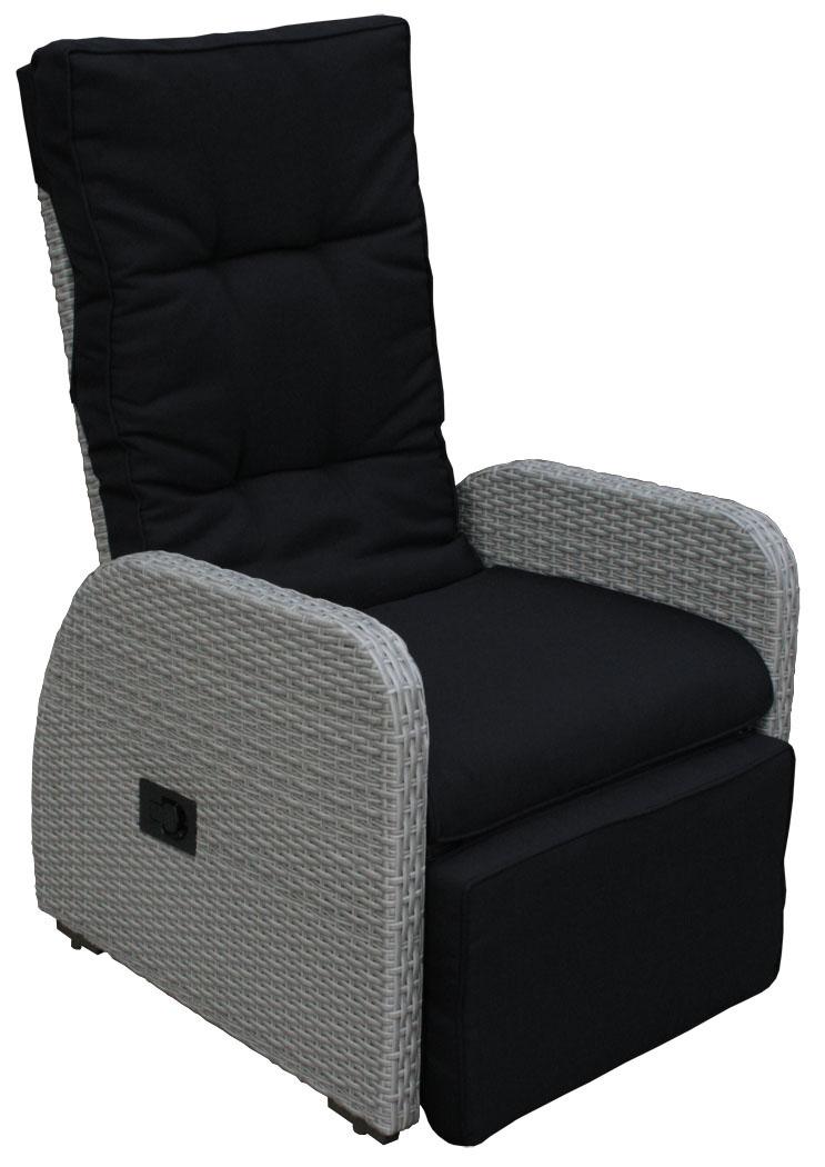 kmh polyrattan gartenstuhl relaxstuhl sonnenliege liegestuhl sessel grau stuhl ebay. Black Bedroom Furniture Sets. Home Design Ideas