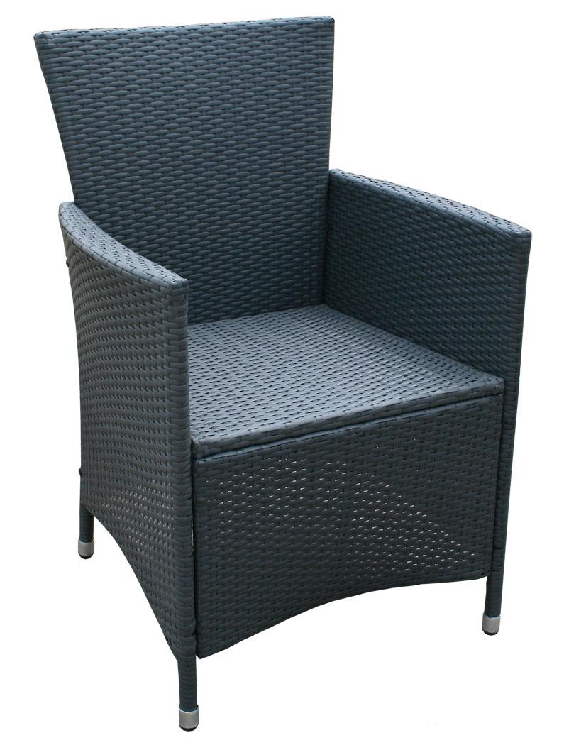 kmh polyrattan gartenstuhl schwarz grau rattanstuhl stuhl gartensessel sessel 4250684313934 ebay. Black Bedroom Furniture Sets. Home Design Ideas