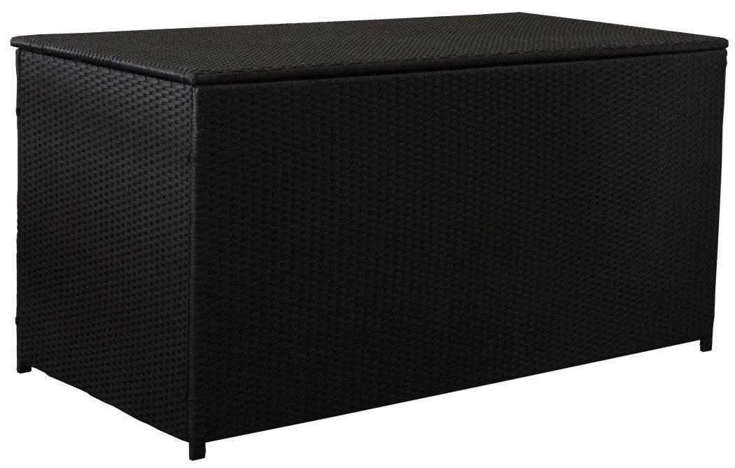 kmh polyrattan kissentruhe schwarz 160 cm gro. Black Bedroom Furniture Sets. Home Design Ideas