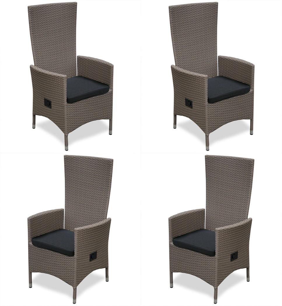 kmh 4 polyrattan hochlehner braun gartenstuhl gartensessel sessel stuhl set 4250684312784 ebay. Black Bedroom Furniture Sets. Home Design Ideas