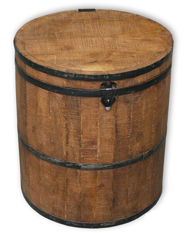 KMH® Truhe Fass Holzkiste Holzbox Sitzhocker Schatzkiste Holz Deckel ...